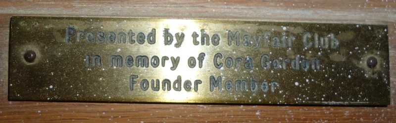 donated in Memory of Cora Gordon